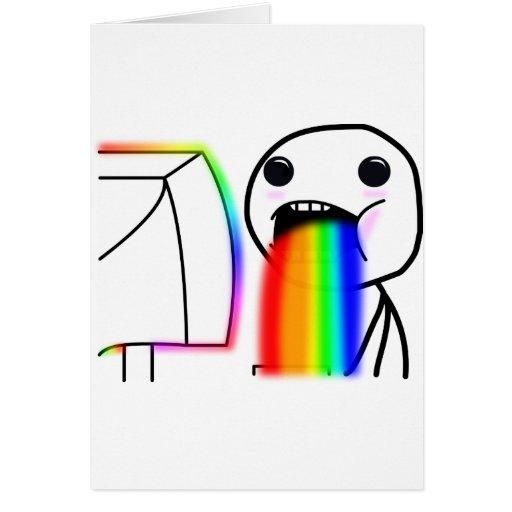 Pukes Rainbows Greeting Card