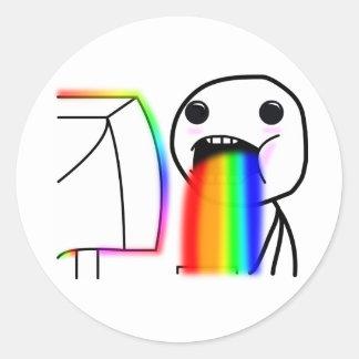 Pukes Rainbows Round Stickers