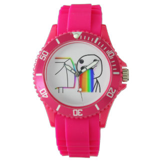 Puking Rainbow Custom Sporty Pink Silicon Watch