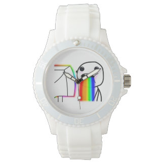 Puking Rainbow Custom Sporty White Silicon Watch