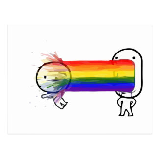 puking rainbow meme postcard