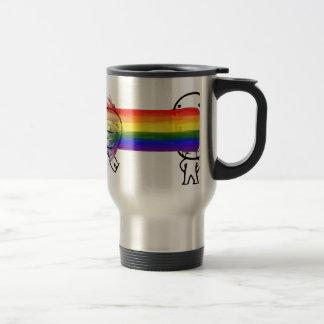 puking rainbow meme stainless steel travel mug