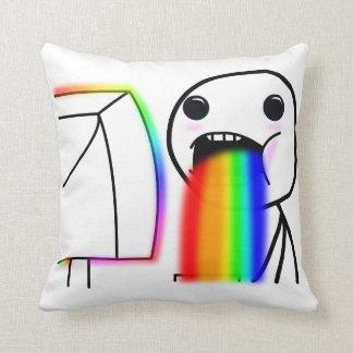Puking Rainbow Polyester Throw Pillow