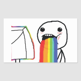 Puking Rainbows Rectangle Sticker