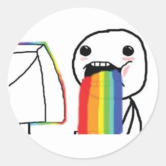 Puking Rainbows Round Sticker
