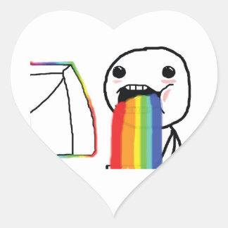 Puking Rainbows Heart Sticker