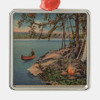 Pulaski, NY View of Canoe, Camping, Tent, Lake Christmas Ornament