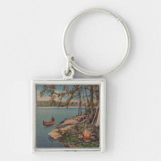Pulaski, NY View of Canoe, Camping, Tent, Lake Silver-Colored Square Key Ring