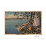 Pulaski, NY View of Canoe, Camping, Tent, Lake Postcards