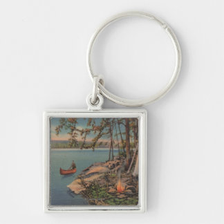 Pulaski, NY View of Canoe, Camping, Tent, Lake Silver-Colored Square Key Ring
