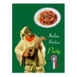 PULCINELLA  ITALIAN KITCHEN PARTY Green Recipe Post Cards