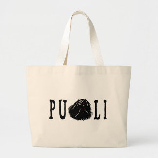 Puli Dog with Puli Text Large Tote Bag