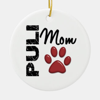 Puli Mom 2 Round Ceramic Decoration