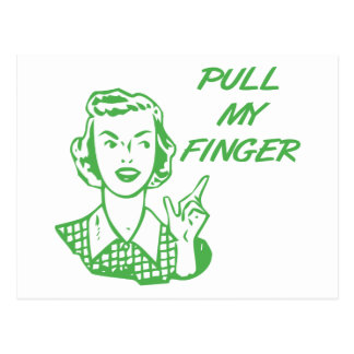 Pull My Finger Retro Housewife Green Postcard