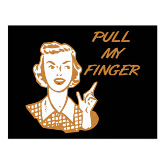 Pull My Finger Retro Housewife Orange Postcard