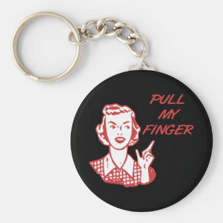 Pull My Finger Retro Housewife Red Basic Round Button Key Ring