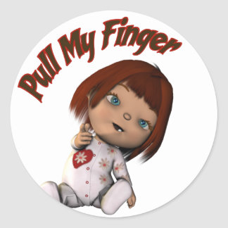 pull my finger round stickers