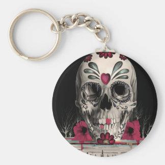 Pulled sugar, melting sugar skull basic round button key ring
