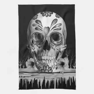 Pulled sugar, melting sugar skull kitchen towels