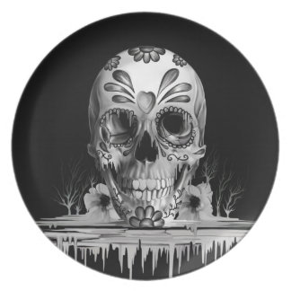 Pulled sugar, melting sugar skull party plates