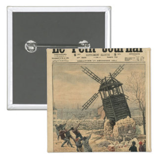 Pulling down one of the last windmills 15 cm square badge