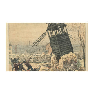 Pulling down one of the last windmills canvas print