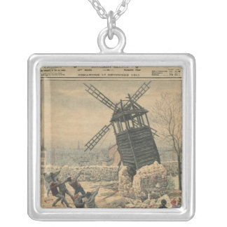 Pulling down one of the last windmills silver plated necklace