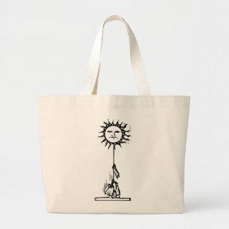 Pulling down the sun. jumbo tote bag