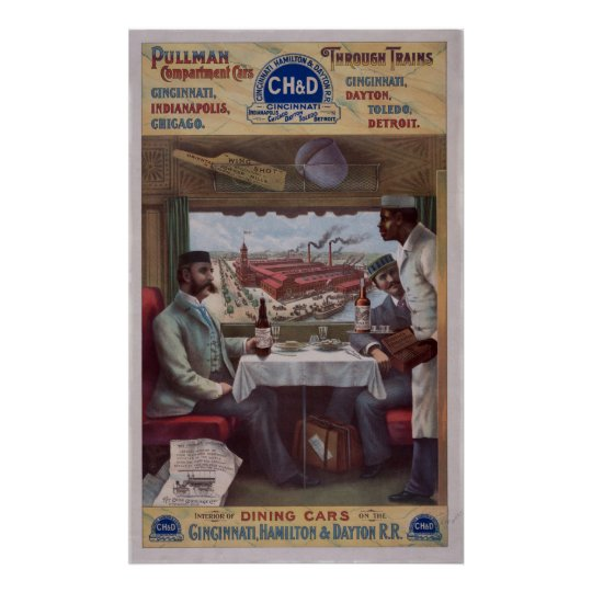 Pullman Dining Car On Train 1894 Vintage WPA