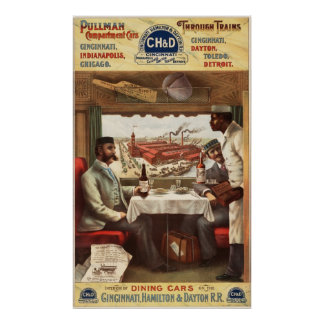 Pullman dining car on train poster