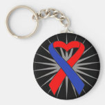 Pulmonary Fibrosis Awareness Heart Ribbon.png Key Chain