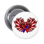 Pulmonary Fibrosis Awareness Heart Wings.png Pinback Buttons