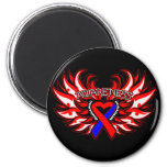 Pulmonary Fibrosis Awareness Heart Wings.png Fridge Magnets