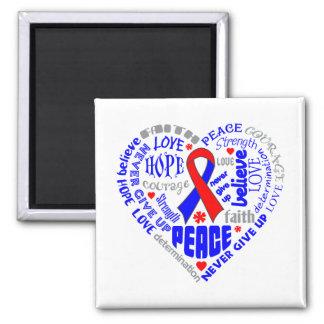 Pulmonary Fibrosis Awareness Heart Words Square Magnet