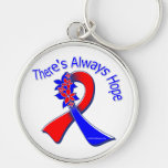 Pulmonary Fibrosis There's Always Hope Floral Silver-Colored Round Key Ring