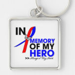 Pulmonary Fibrosis Tribute In Memory of My Hero Silver-Colored Square Key Ring
