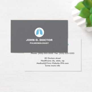 Pulmonology or pulmonologist gray business card