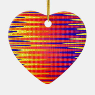 Pulse in bright abstract colours. ceramic heart decoration
