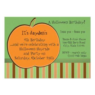 Pumkin and Stripes Personalized Invites