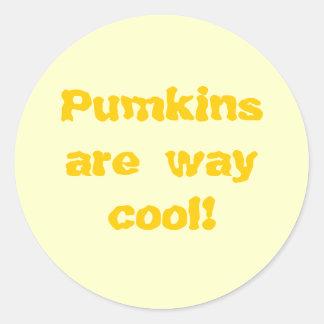 Pumkins are way cool! round sticker