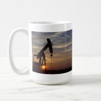Pump Jack at Sunset. Basic White Mug