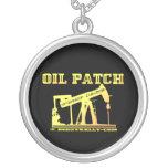Pump Jack Necklace,Oil,Patch,Black Gold,Rigs Round Pendant Necklace