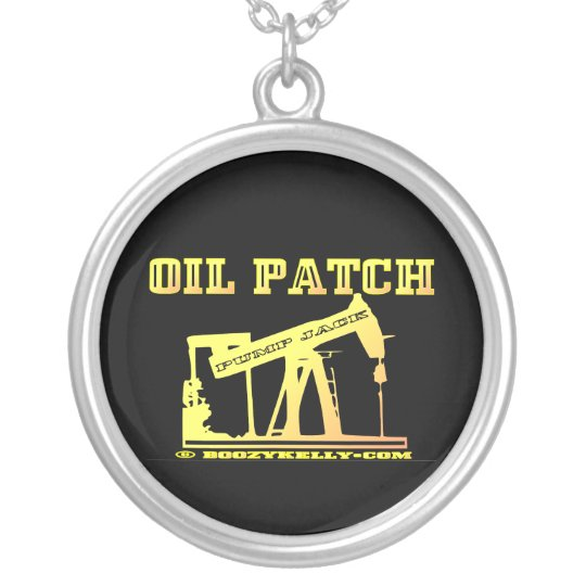 Pump Jack Necklace,Oil,Patch,Black Gold,Rigs Silver Plated Necklace