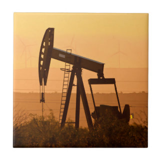 Pump Jack Pumping Oil In West Texas, USA Tile