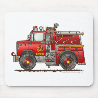 Pumper Rescue Fire Truck Firefighter Mouse Pad