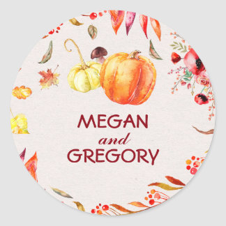 Pumpink Fall Harvest and Tree Leaves Wedding Round Sticker
