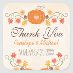 Pumpkin Acorn Floral Fall Wedding Thank You Square Sticker