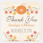 Pumpkin Acorn Floral Fall Wedding Thank You Square Sticker