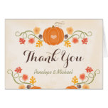 Pumpkin and Acorn Floral Fall Wedding Thank You Note Card