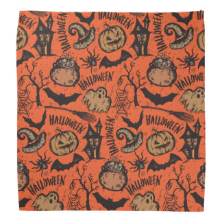 Pumpkin and Bats Happy Halloween Bandana